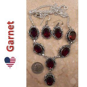 GARNET necklace earrings SET 103-01